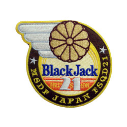 100% black jack embroidered patch