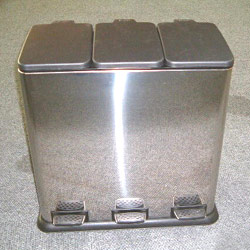 3 compartment pedal bins