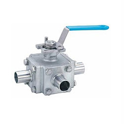 4-pcs 3 way sanitary butt-weld end ball valve