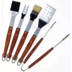 5pc rosewood handle bbq tool sets