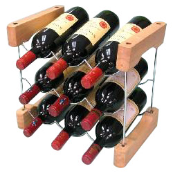 The newest version of wine rack combines wire solid hardwood