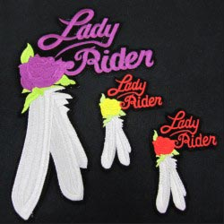 embroidered lady rider emblem