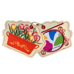 flower embroidered luggage tags
