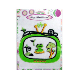 frog embroidered sticker package