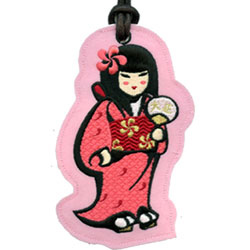 geisha embroidered luggage tags