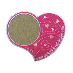 heart embroidered coasters