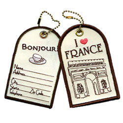 i love france embroidered luggage tags