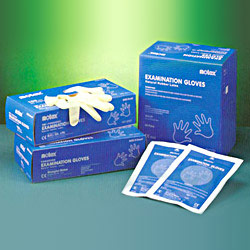 lightly powdered latex examination gloves