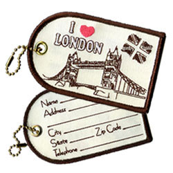 london embroidered luggage tags