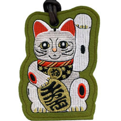 lucky cat embroidered luggage tags