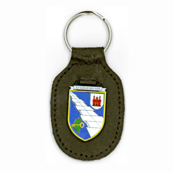 metal badge leather frog keyring