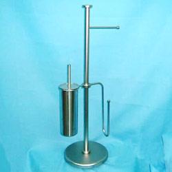 metal tube toilet paper holder and brush holder