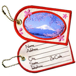 mount fuji writable embroidered luggage tags