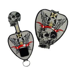 murk skull embroidered key holder