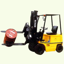 sit on electric forklift truck rotating fork clamp
