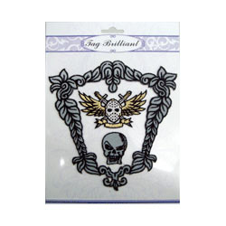 stylish skull embroidered sticker package