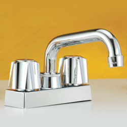 two metal handle laundry faucets