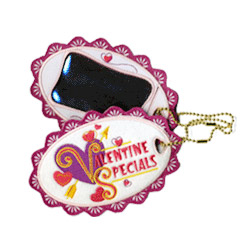 valentine embroidered luggage tag