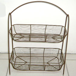 wire 2 tier oblong basket stand