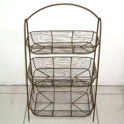 wire 3 tier oblong basket stand